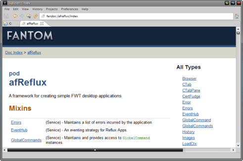 Screenshot of Offline Docs in Explorer